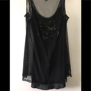 DKNY Black Beaded Sheer Top w/ Silk Camisole NWOT